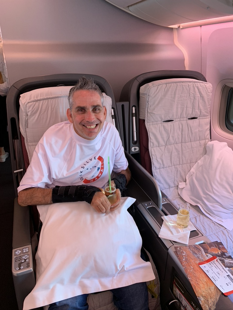 Business class and champagne